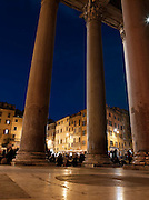Columns at the entrance to the Patheon at night, Rome, Italy