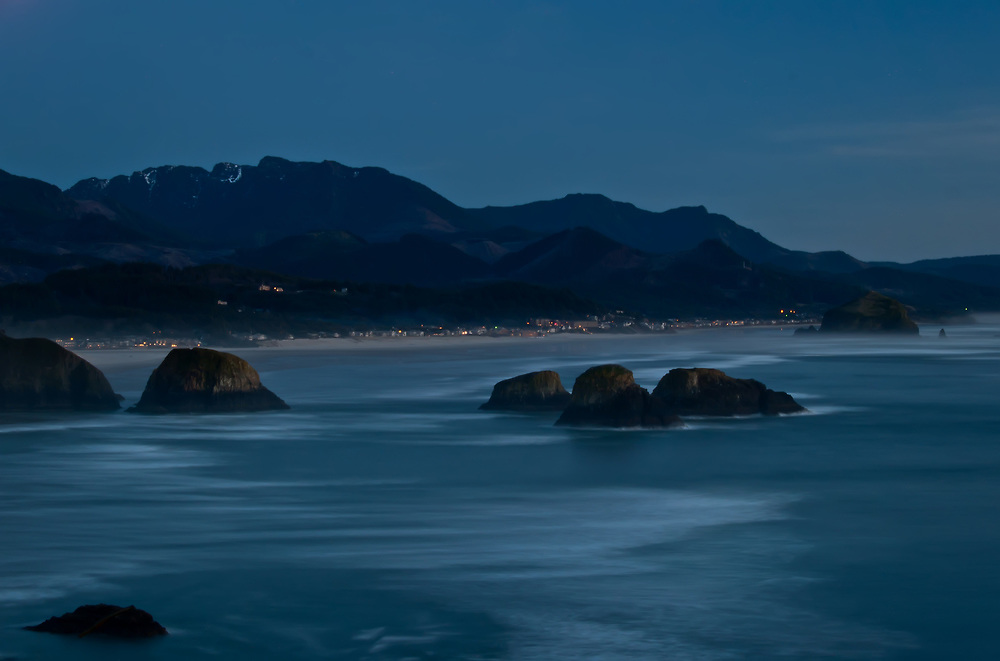 A view of Cannon Beach shortly after sunset from Ecola Overlook.