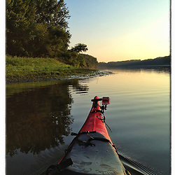 """Kayaking on the Connecticut River at dawn in Weathersfield, Connecticut. iPhone photo - suitable for print reproduction up to 8"""" x 12""""."""