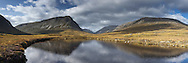 Panoramic view looking up Glen Dee towards Ben Macdui and The Devil's Point, Cairngorm and Grampian Mountains, Scotland, Uk