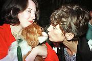 Lady Henrietta Rous with her dog Camelot. Bad Sex Awards. Hyde Park Gate. 1997. . © Copyright Photograph by Dafydd Jones 66 Stockwell Park Rd. London SW9 0DA Tel 020 7733 0108 www.dafjones.com