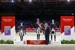 Podium Final Lyon 2014<br /> 1. Dujardin Charlotte - Valegro<br /> 2. Langehanenberg Helen - Damon Hill<br /> 3. Gal Edward - Glock's Undercover<br /> and John McEwen FEI 1st Vice President<br /> Reem Acra FEI World Cup™ Dressage Final 2013/2014<br /> Lyon 2014<br /> © Dirk Caremans