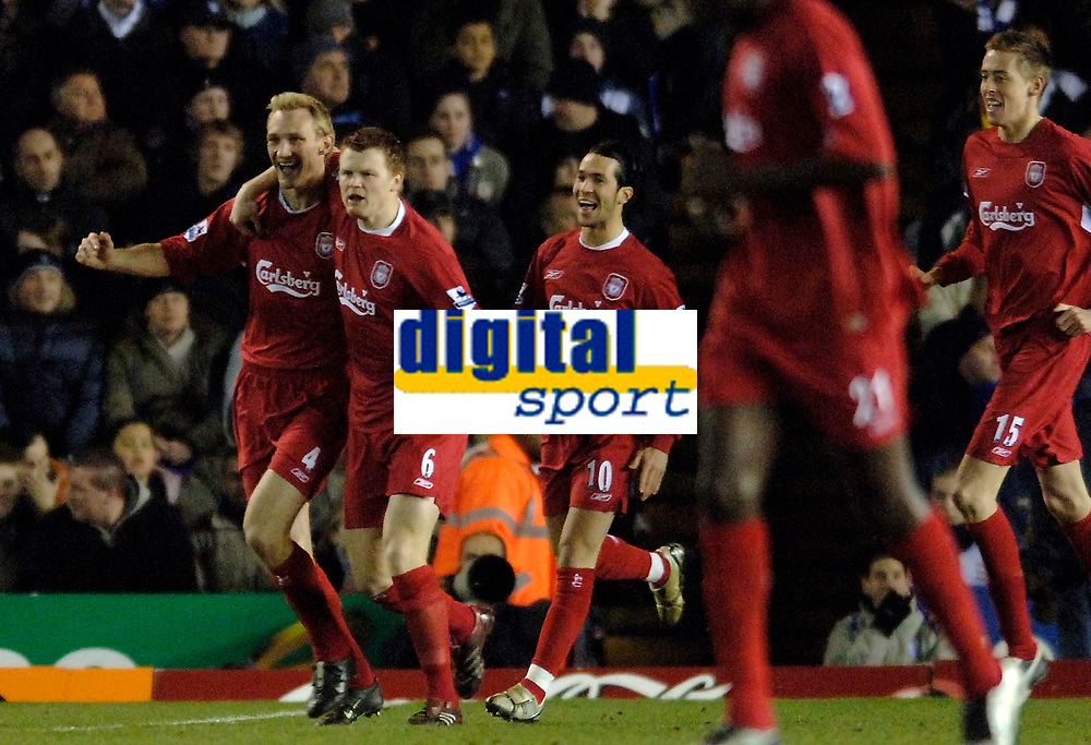 Photo: Glyn Thomas.<br />Birmingham City v Liverpool. The FA Cup. 21/03/2006.<br /> Liverpool's Sami Hyypia (L) celebrates giving his side a 1-0 lead.