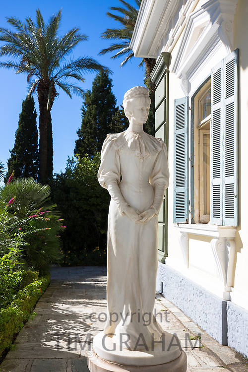 Statue of Kaiserin Elisabeth Von Osterreich Empress of Austria at Achilleion Palace, Museo Achilleio, in Corfu, Greece