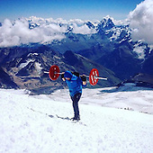 Bodybuilder travelled to top of Mount Elbrus carrying Barbell