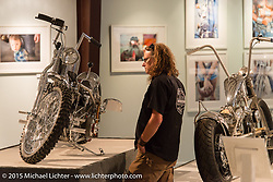Bill Rodencal in the Naked Truth exhibition at the Buffalo Chip gallery during the 75th Annual Sturgis Black Hills Motorcycle Rally.  SD, USA.  August 5, 2015.  Photography ©2015 Michael Lichter.