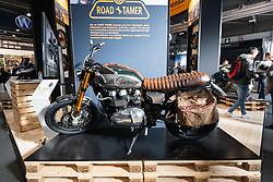 A new bike from South Garage at Motor Bike Expo (MBE) bike show. Verona, Italy. Sunday, January 19, 2020. Photography ©2020 Michael Lichter.