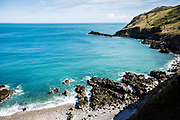 View of the sea and a hidden bay from the Noorth Coast cliff paths in Jersey, Channel Islands