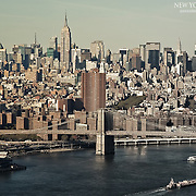 Lower Manhattan to Midtown, and Stuyvesant Town in the lower portions seen near the Brooklyn Bridge