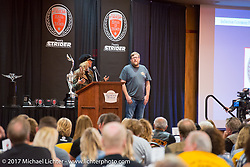 2017 Sturgis Grand Marshall Jessi Combs addresses the crowd with Mayor Mark Carstensen on the stage at the Sturgis Motorcycle Hall of Fame 2017 Induction Breakfast during the annual Sturgis Black Hills Motorcycle Rally. Deadwood, SD. USA.  August 9, 2017.  Photography ©2017 Michael Lichter.