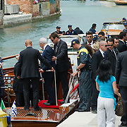 VENICE, ITALY - JUNE 03:  Israel President Shimon Peres is seen boarding a power boat in S Mark's Basin after visiting  the Venice Biennale on June 3, 2011 in Venice, Italy.  This year's Biennale is the 54th edition and will run from June 4th until 27 November.