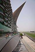 The Meydan Hotel and Race track in Dubai, UAE. Dubai Meydan city is the new development under construction in Ras Al Khor area of Dubai, UAE. Dubai Meydan city was launched on the eve of the 2007 Dubai World Cup.