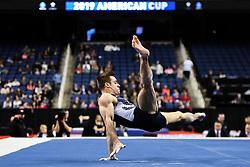 March 2, 2019 - Greensboro, North Carolina, US - SAM MIKULAK competes on the floor exercise at the Greensboro Coliseum in Greensboro, North Carolina. (Credit Image: © Amy Sanderson/ZUMA Wire)