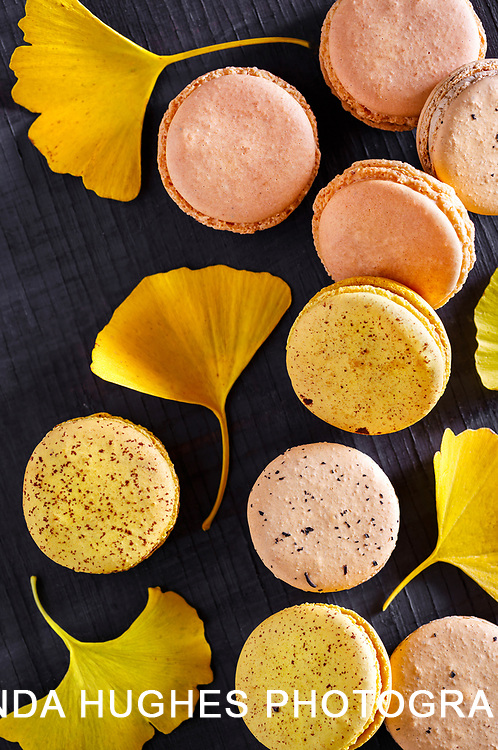 Autumn Macarons with Gingko Leaves