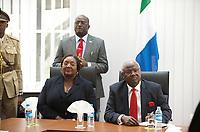 DEU, Deutschland, Germany, Berlin, 16.02.2011:<br />Ernest Bai Koroma, Präsident der Republik Sierra Leone, und seine Ehefrau Sia zu Besuch in der Botschaft von Sierra Leone in Berlin-Lichterfelde, Herwarthstrasse 4.