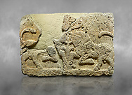 Hittite relief sculpted orthostat stone panel of Herald's Wall Limestone, Karkamıs, (Kargamıs), Carchemish (Karkemish), 900-700 B.C. Anatolian Civilisations Museum, Ankara, Turkey.<br /> <br /> A pair of kneeling bull on either side of the tree of life, one each foot is on the tree, the other feet are bend towards the abdomen.  <br /> <br /> Against a grey art background. .<br />  <br /> If you prefer to buy from our ALAMY STOCK LIBRARY page at https://www.alamy.com/portfolio/paul-williams-funkystock/hittite-art-antiquities.html  - Type  Karkamıs in LOWER SEARCH WITHIN GALLERY box. Refine search by adding background colour, place, museum etc.<br /> <br /> Visit our HITTITE PHOTO COLLECTIONS for more photos to download or buy as wall art prints https://funkystock.photoshelter.com/gallery-collection/The-Hittites-Art-Artefacts-Antiquities-Historic-Sites-Pictures-Images-of/C0000NUBSMhSc3Oo