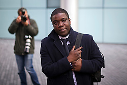 © London News Pictures. 15/11/2012. London, UK . Former UBS trader Kweku Adoboli outside Southwark Crown Court in London where a  jury has retired to consider its verdict in the trial of the City trader accused of a $2bn fraud. Adoboli is accused of undertaking unauthorised trading at Swiss bank UBS that resulted in a $2bn loss for the bank, one of the biggest ever cases of alleged unauthorised trading. Photo credit: Ben Cawthra/LNP
