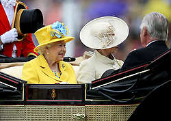 Her Majesty The Queen Elizabeth II and Anne, Princess Royal arriving during day one of Royal Ascot at Ascot Racecourse.