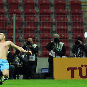 Trabzonspor's Burak YILMAZ (L) celebrate his goal during their Turkish superleague soccer derby match Galatasaray between Trabzonspor at the TT Arena in Istanbul Turkey on Sunday, 10 April 2011. Photo by TURKPIX