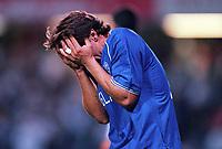 Dejected Gianfranco Zola (Chelsea). Chelsea v St Gallen, UEFA Cup, 14/9/2000. Credit Colorsport / Stuart MacFarlane.