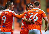 Blackpool's Kenny Dougall celebrates scoring his side's second goal with Daniel Ballard<br /> <br /> Photographer Alex Dodd/CameraSport<br /> <br /> The EFL Sky Bet League One Play-Off Semi-Final 2nd Leg - Blackpool v Oxford United - Friday 21st May 2021 - Bloomfield Road - Blackpool<br /> <br /> World Copyright © 2021 CameraSport. All rights reserved. 43 Linden Ave. Countesthorpe. Leicester. England. LE8 5PG - Tel: +44 (0) 116 277 4147 - admin@camerasport.com - www.camerasport.com