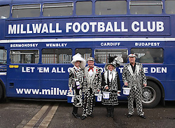 Pearly kings and queens collecting for charity outside the stadium - Photo mandatory by-line: Robin White/JMP - Tel: Mobile: 07966 386802 18/01/2014 - SPORT - FOOTBALL - The Den - Millwall - Millwall v Ipswich Town - Sky Bet Championship