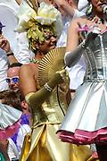 De Canal Parade 2014 - een botenparade over de Amsterdamse grachten en het hoogtepunt van Gay Pride Amsterdam.<br /> <br /> The Canal Parade 2014 - a boat parade on the canals of Amsterdam and the highlight of Gay Pride Amsterdam.<br /> <br /> Op de foto / On the photo: <br /> <br /> <br />  Frank Sanders als drag queen
