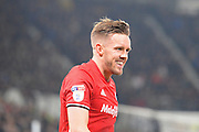 Cardiff City midfielder Craig Noone (11) celebrates after scoring a goal to make it 2-3 during the EFL Sky Bet Championship match between Derby County and Cardiff City at the Pride Park, Derby, England on 14 February 2017. Photo by Jon Hobley.
