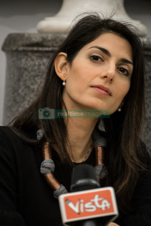 February 6, 2018 - Rome, Italy, Italy - Mayor of Rome Virginia Raggi attends press conference on the tramway project in Rome, Italy, on 6 February 2018 with the Councillor to the City in Movement of Rome Capital, Linda Meleo and with the Councillor for Urban Planning of Rome Capital, Luca Montuori, is with the chairman of the capital's committee Mobility Enrico Stefanò the ''final tramway project wide Corrado Ricci - Piazza Piazza Vittorio''...The infrastructure is an integral part of the Pums Programme Plan for Sustainable Urban Mobility, and €5 million (2019-2020) has already been allocated in the Budget for the construction of the project. An intervention that will guarantee benefits and improve public transport, connecting peripheral areas to the Imperial Forum area.  The objective is to rethink the spaces with an overall look that is at the height of the Capital through an infrastructural system that allows to live the city in the right integration between its history and its role today.on February 06, 2018 in Rome, Italy. (Credit Image: © Andrea Ronchini/NurPhoto via ZUMA Press)