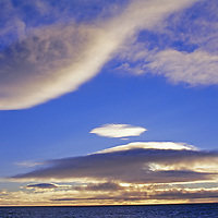 A sunset over the Barents Sea in the Arctic Ocean.