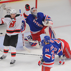 May 23, 2012: New Jersey Devils center Patrik Elias (26) celebrates his goal on New York Rangers goalie Henrik Lundqvist (30) during first period action in game 5 of the NHL Eastern Conference Finals between the New Jersey Devils and New York Rangers at Madison Square Garden in New York, N.Y.