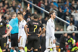 Real Madrid's Sergio Ramos shown red card during the UEFA Champions League round of 16 first leg match Real Madrid v Manchester City at Santiago Bernabeu stadium on February 26, 2020 in Madrid, Sdpain. Real was defeated 1-2. Photo by David Jar/AlterPhotos/ABACAPRESS.COM