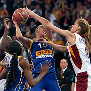Lotos Gdynia's Ines AJANOVIC (C) during their woman Euroleague group A matchday 5 Galatasaray between Lotos Gdynia at the Abdi Ipekci Arena in Istanbul at Turkey on Wednesday, November 09 2011. Photo by TURKPIX
