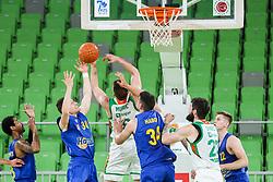 Zan Kosic of Hopsi vs Edo Muric of Cedevita Olimpija during 1st Leg basketball match between KK Cedevita Olimpija and KK Hopsi Polzela in Quarterfinals of Nova KBM League 2020/21, on May 4, 2021, in Arena Stozice, Ljubljana, Slovenia. Photo by Vid Ponikvar / Sportida
