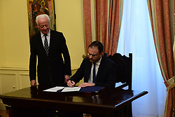 May 4, 2019 - Athens, Attiki, Greece - Athanasios Theoharopoulos, new Minister of Tourism, signs after his political oath, the official documents. (Credit Image: © Dimitrios Karvountzis/Pacific Press via ZUMA Wire)