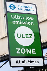 Green signs demarcate London's Ultra Low Emissions Zone  - ULEZ - which comes into effect on April 8th 2019 with petrol cars and vans that don't meet the Euro 4 emissions standard and Euro 6 for diesels being subject to a daily £12.50 charge, motorcycles must meet the Euro 3 standard or pay the same as cars and vans whilst lorries must meet the Euro VI standard or face a daily £100 charge . London, April 07 2019.