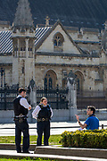 """Mcc0094900. Daily Telegraph <br /> <br /> DT News<br /> <br /> Police speak to someone sitting in Parliament square . Authorities are concerned that warm spring weather will bring people out of their homes from lockdown and out into the sun in public areas furthering the problem , 684 people died in the UK as a result of the Covid-19 pandemic in the UK yesterday .<br /> Restrictions state that everybody must stay at home where possible, and only leave if they have a """"reasonable excuse"""", such as exercise or shopping for basic necessities.<br /> <br /> London 4 April 2020"""