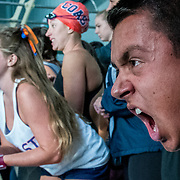 Students cheer on their teammate at the CCCAA State Championships at East Los Angeles College in Los Angeles, CA May 6, 2017.<br /> <br /> Photo by Justin L. Stewart/Sports Shooter Academy
