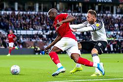 Benik Afobe of Bristol City takes on Richard Keogh of Derby County - Mandatory by-line: Robbie Stephenson/JMP - 20/08/2019 - FOOTBALL - Pride Park Stadium - Derby, England - Derby County v Bristol City - Sky Bet Championship