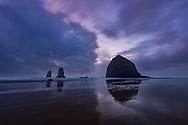 Haystack Rock, sunset, storm, Cannon Beach, Oregon