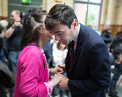 © Licensed to London News Pictures . 17/08/2015 . Manchester , UK . Labour party leadership contender , ANDY BURNHAM talks to an audience member after delivering a speech at the People's History Museum in Manchester this morning (Monday 17th August 2015) . Photo credit : Joel Goodman/LNP
