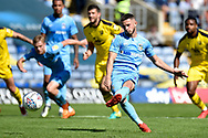 Coventry City striker (on loan from Portsmouth) Conor Chaplin (10) scores a goal from the penalty spot  0-2 during the EFL Sky Bet League 1 match between Oxford United and Coventry City at the Kassam Stadium, Oxford, England on 9 September 2018.
