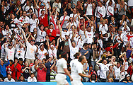 5th September 2010, Twickenham Stoop, London, England: England fans celebrate England's only try during the IRB Women's Rugby World Cup final between England and New Zealand Black Ferns. New Zealand won 13-10, capturing the trophy for the 4th time.  (Photo by Andrew Tobin www.slikimages.com)