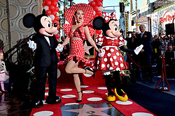 Mickey Mouse and Katy Perry attend the ceremony honoring Minnie Mouse with a Star on The Hollywood Walk of Fame in Celebration of her 90th Anniversary at El Capitan Theatre on January 22, 2018 in Los Angeles, California. Photo by Lionel Hahn/ABACAPRESS.COM