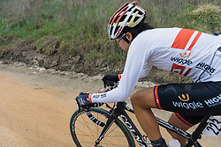 Mayuko Hagiwara approaches the end of the longest gravel sector - 2016 Strade Bianche - Elite Women, a 121km road race from Siena to Piazza del Campo on March 5, 2016 in Tuscany, Italy.