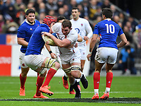 Rugby Union - 2020 Guinness Six Nations Championship - France vs. England<br /> <br /> England's Sam Underhill is tackled by Frances's Bernard Le Roux, at The Stade de France, Paris.<br /> <br /> COLORSPORT/ASHLEY WESTERN