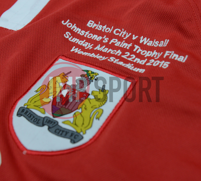 A Bristol City shirt with Johnstone Paint Trophy final detail - Photo mandatory by-line: Dougie Allward/JMP - Mobile: 07966 386802 - 11/03/2015 - SPORT - Football - Bristol - Cabot Circus Shopping Centre - Johnstone's Paint Trophy