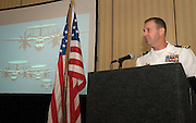 PENSACOLA, Fla. (Oct. 29, 2009) -- U.S. Navy Cmdr. Scott Norr, Commanding Officer of Navy Public Affairs Support Element, Headquarters, makes remarks as keynote speaker during the National Association of Naval Photography (NANP) reunion in Pensacola Beach, Florida.  Cmdr. Norr gave a great speech on the status of today's naval photographery and the merging of different media skill sets that make up the consolidated job rate of mass communications specialist.  Photo by Johnny Bivera