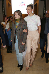 "Gigi Hadid and Karlie Kloss attends the launch of Evian and Virgil Abloh's limited-edition ""One Drop can make a Rainbow"" collection at Théâtre National de Chaillot in Paris, France on February 25, 2019. Photo by Jerome Domine/ABACAPRESS.COM"