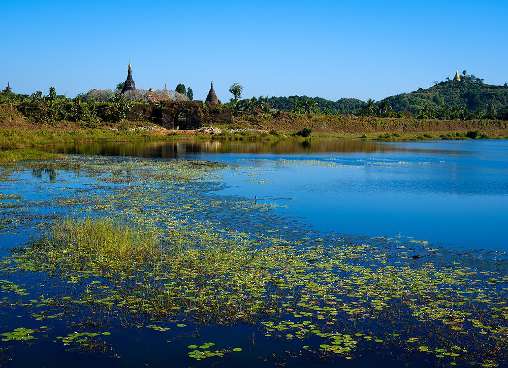 MRAUK U, MYANMAR - CIRCA DECEMBER 2017: View of the Latsay Lake In Mrauk U, Rakhine State.